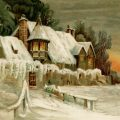 Snow covered house vintage winter scene