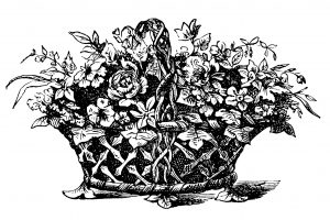free vintage basket of flowers clip art illustration