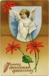Free vintage Christmas angel postcard image