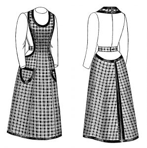 Free printable vintage apron black and white clip art