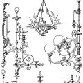 Free vintage chandelier clip art illustration