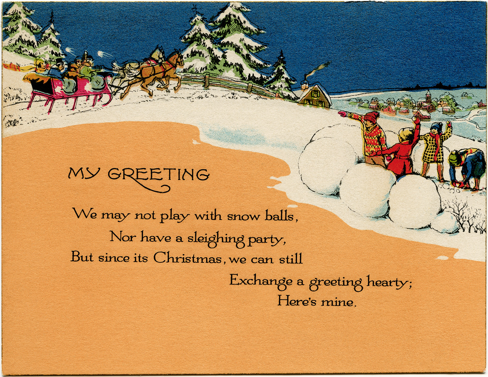 Vintage Christmas Greeting Card - Old Design Shop Blog