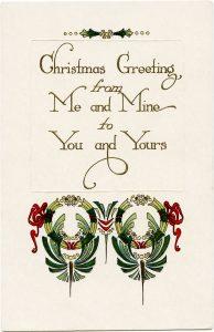 free vintage Christmas greeting printable postcard