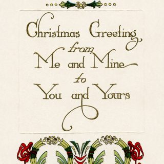 free vintage Christmas greeting printable postcard