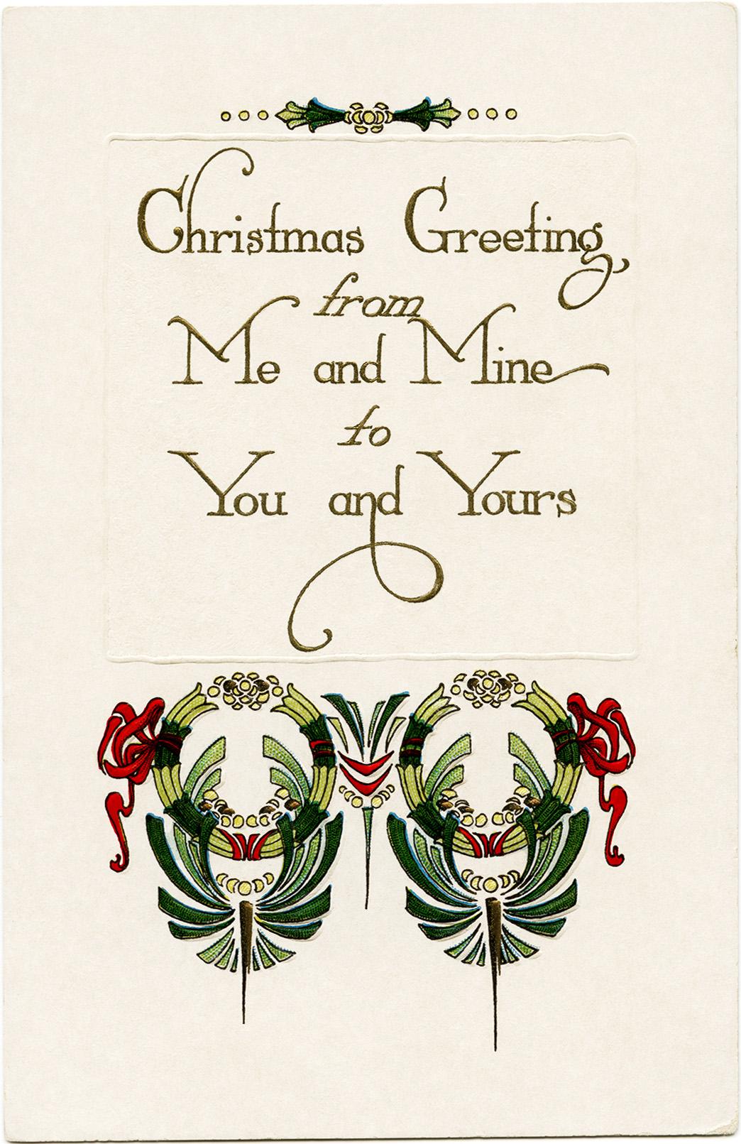 Vintage christmas greeting old design shop blog free vintage christmas greeting printable postcard m4hsunfo