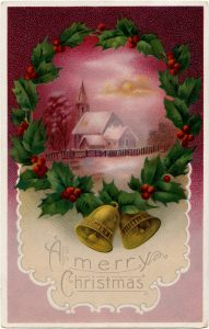 Free vintage country church postcard image