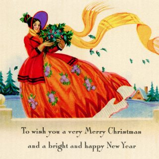 Free vintage printable Christmas card Victorian lady
