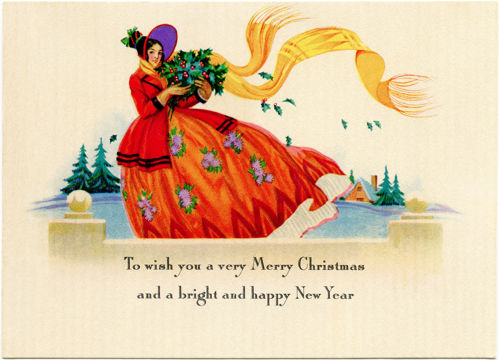 Vintage Lady Christmas Card - Old Design Shop Blog