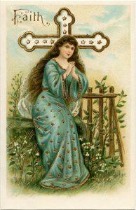 free vintage virtue faith postcard image
