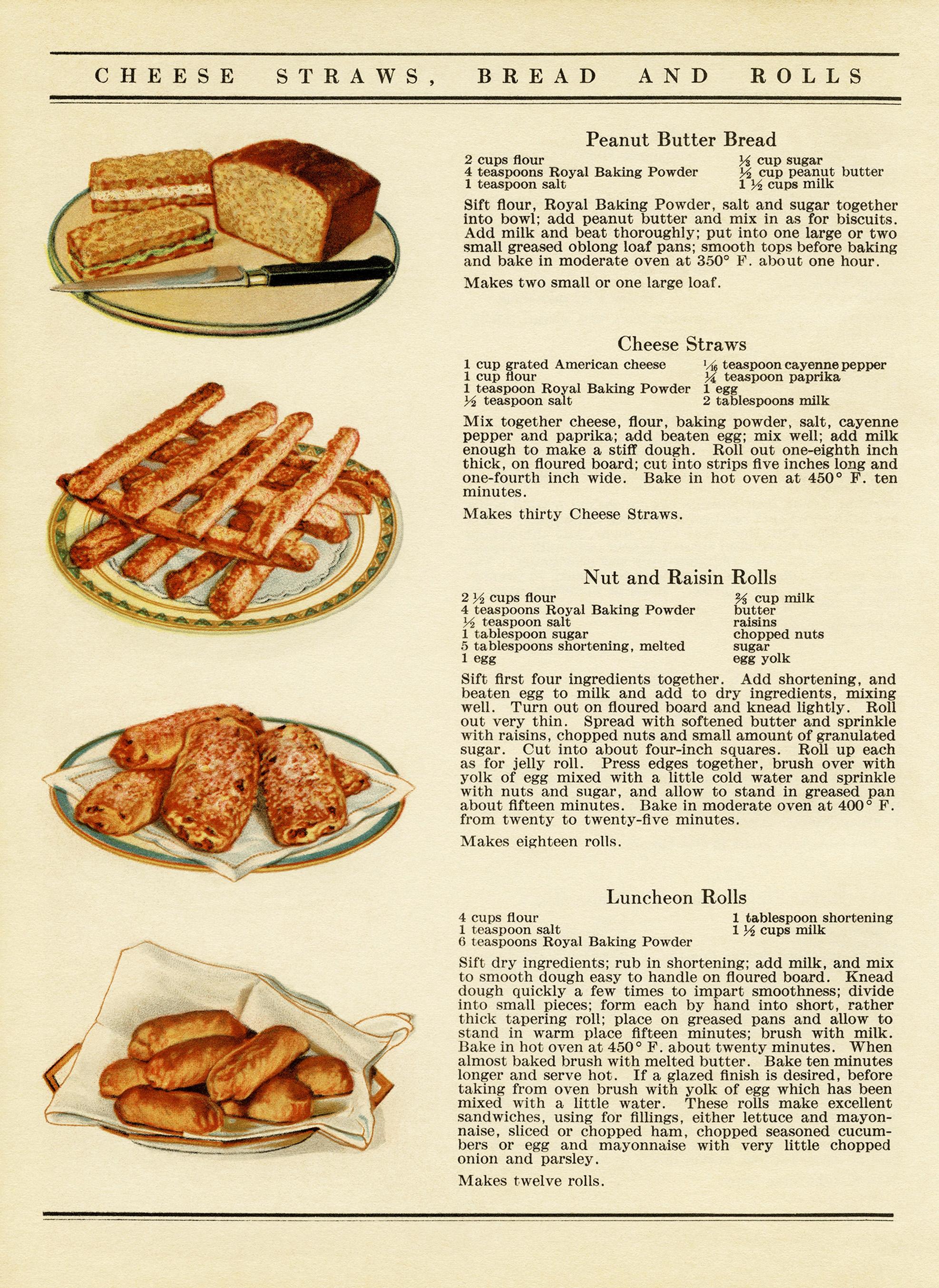 Vintage recipes bread and rolls old design shop blog free vintage illustrated cookbook page digital forumfinder Images
