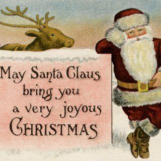 free printable vintage Santa Claus Christmas postcard