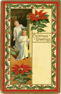 Free vintage children Christmas morning postcard