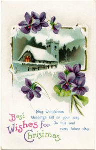 Free vintage printable country church Christmas postcard