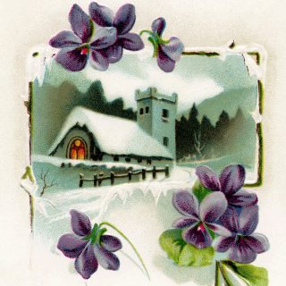 Church and Violets Vintage Illustration