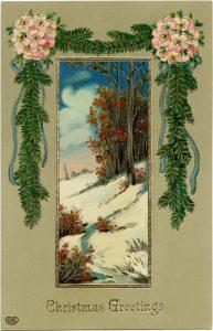 Free vintage scenic Christmas postcard printable image