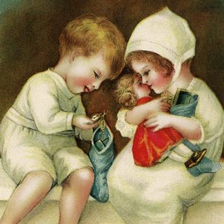 Vintage Christmas Children with Gifts