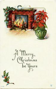 Free vintage printable Christmas postcard image