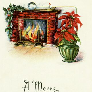 Cozy Fireplace Vintage Christmas Scene