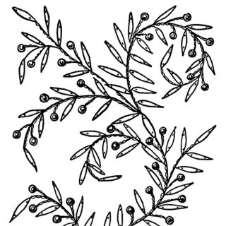 Embroidery Design Leaves and Berries