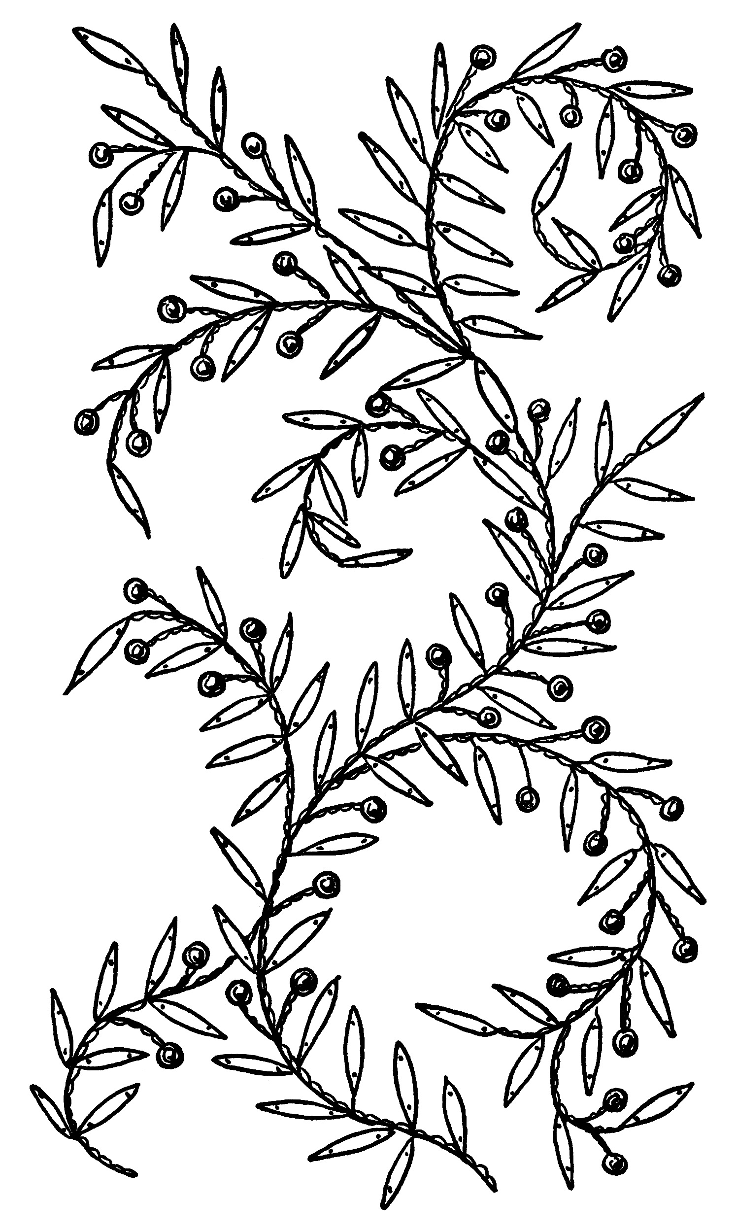 Leaves and berries embroidery design old design shop blog free vintage embroidery pattern clip art leaves berries bankloansurffo Choice Image