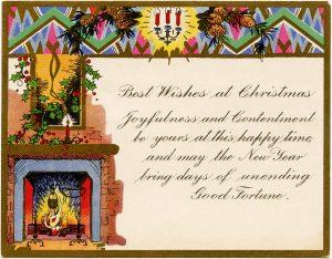 Free printable art deco vintage Christmas greeting card