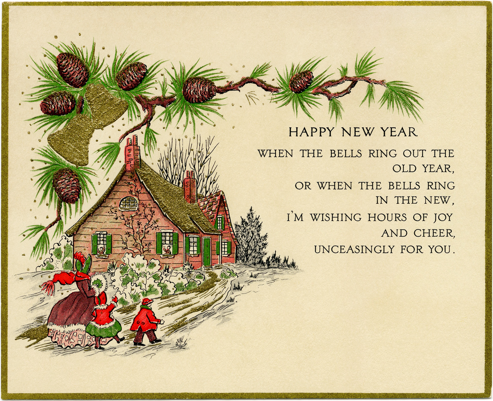 picture regarding Printable New Year Cards named Traditional Fresh new Yr Greeting Card - Aged Style and design Retail outlet Web site