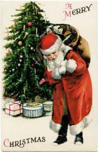 Free vintage printable Santa Claus Christmas postcard