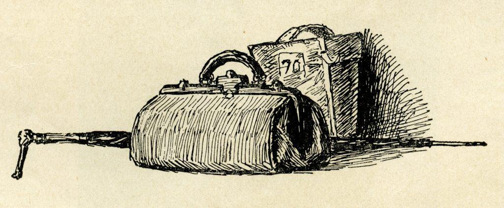 Free vintage suitcase clip art illustration