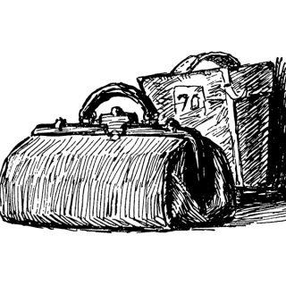 Vintage Luggage Clip Art Illustration