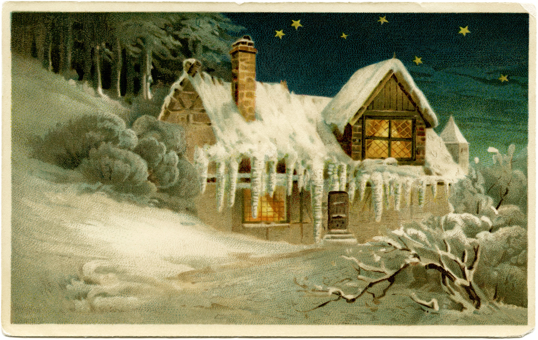 Free Vintage Printable Country Cottage In Winter Scene