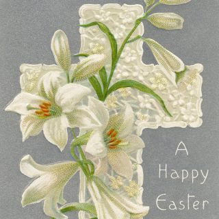 Free vintage printable Easter postcard cross and lilies