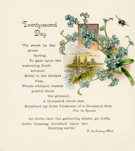 Free vintage illustrated spring poem with flowers and bee