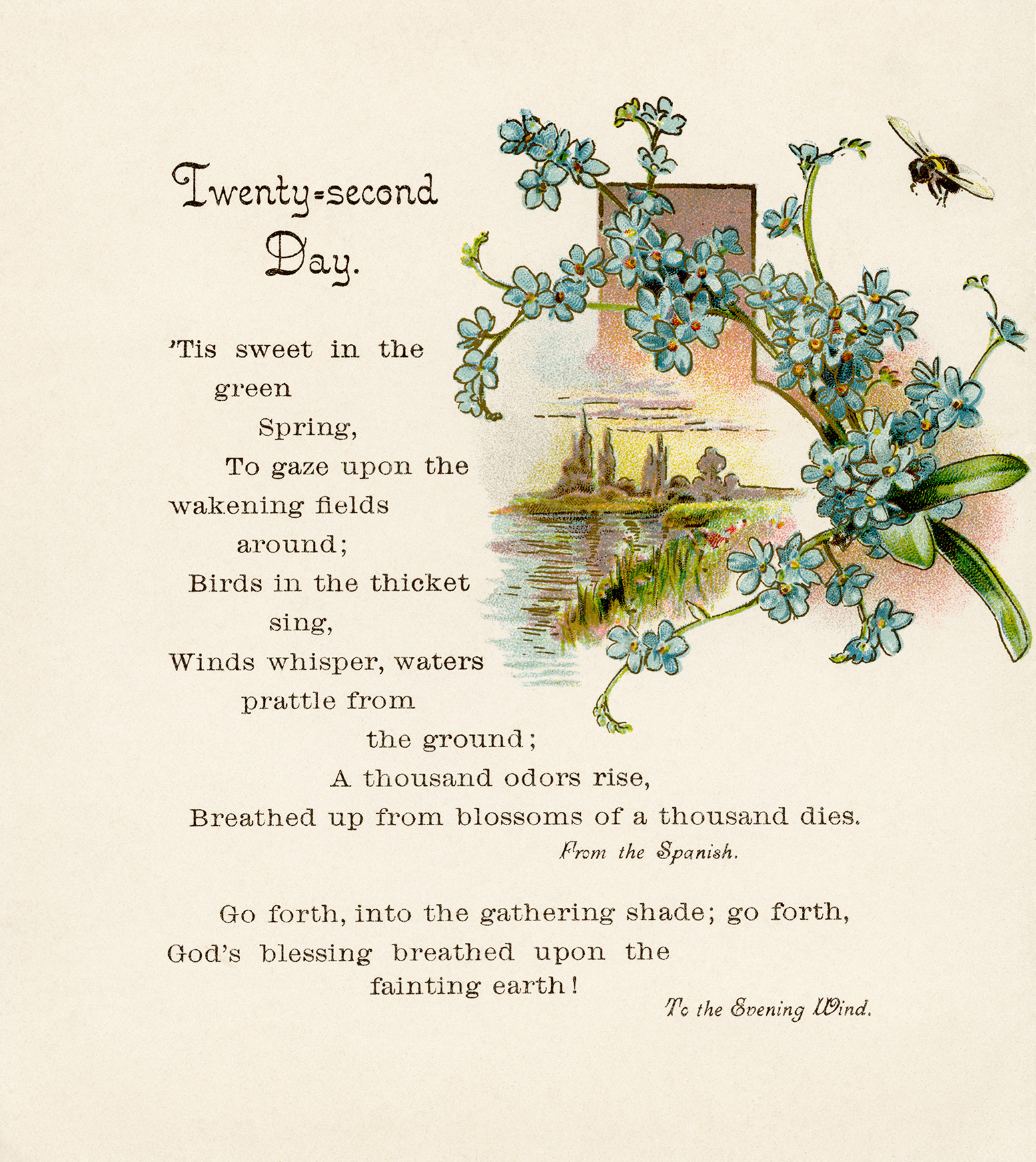 Illustrated Spring Poem Vintage Clip Art Old Design Shop Blog