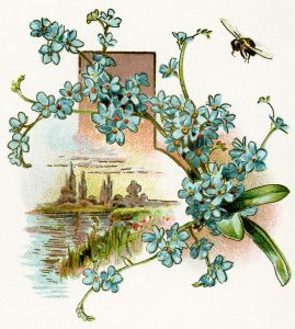 Flowers and bee vintage clip art