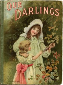 Free vintage book cover Our Darlings Victorian girls illustration