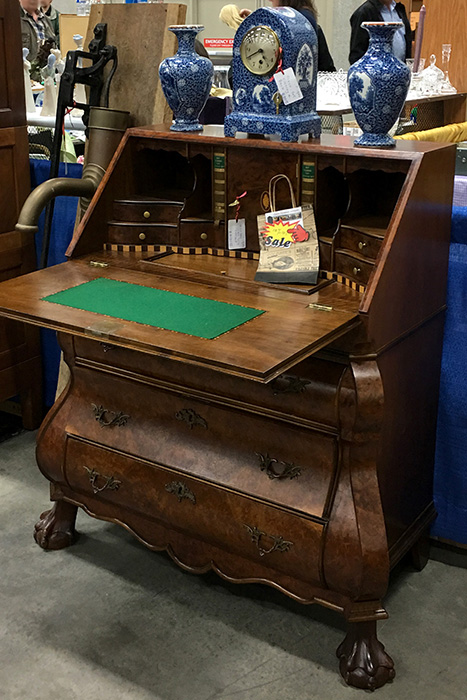 Antique desk on display