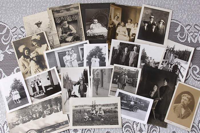 Arrangement of antique photographs
