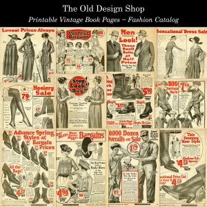 printable vintage fashion catalog book pages