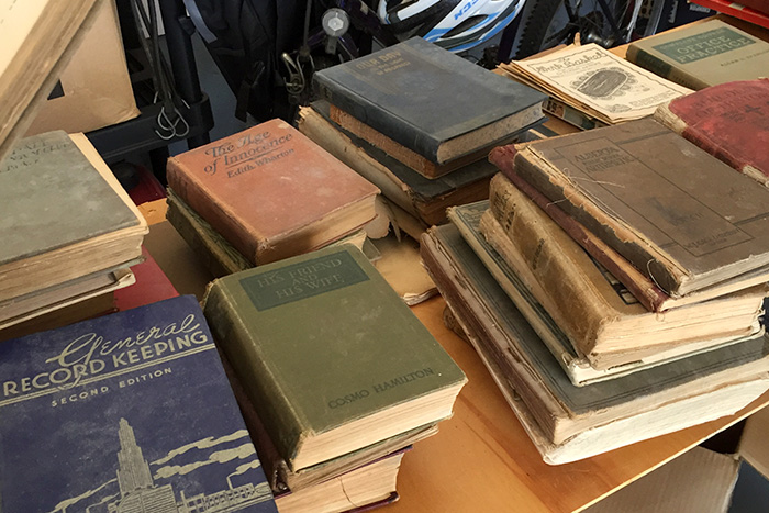 antique books on table