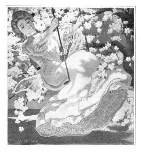 Free vintage illustration lady on swing