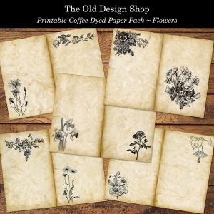 Printable coffee dyed flower page old design shop