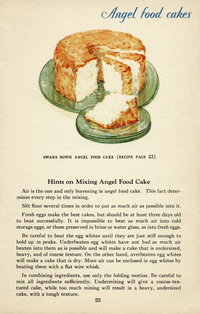 free vintage illustrated cookbook page angel food cake recipe