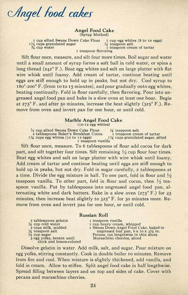 free vintage cookbook page angel food cake recipe