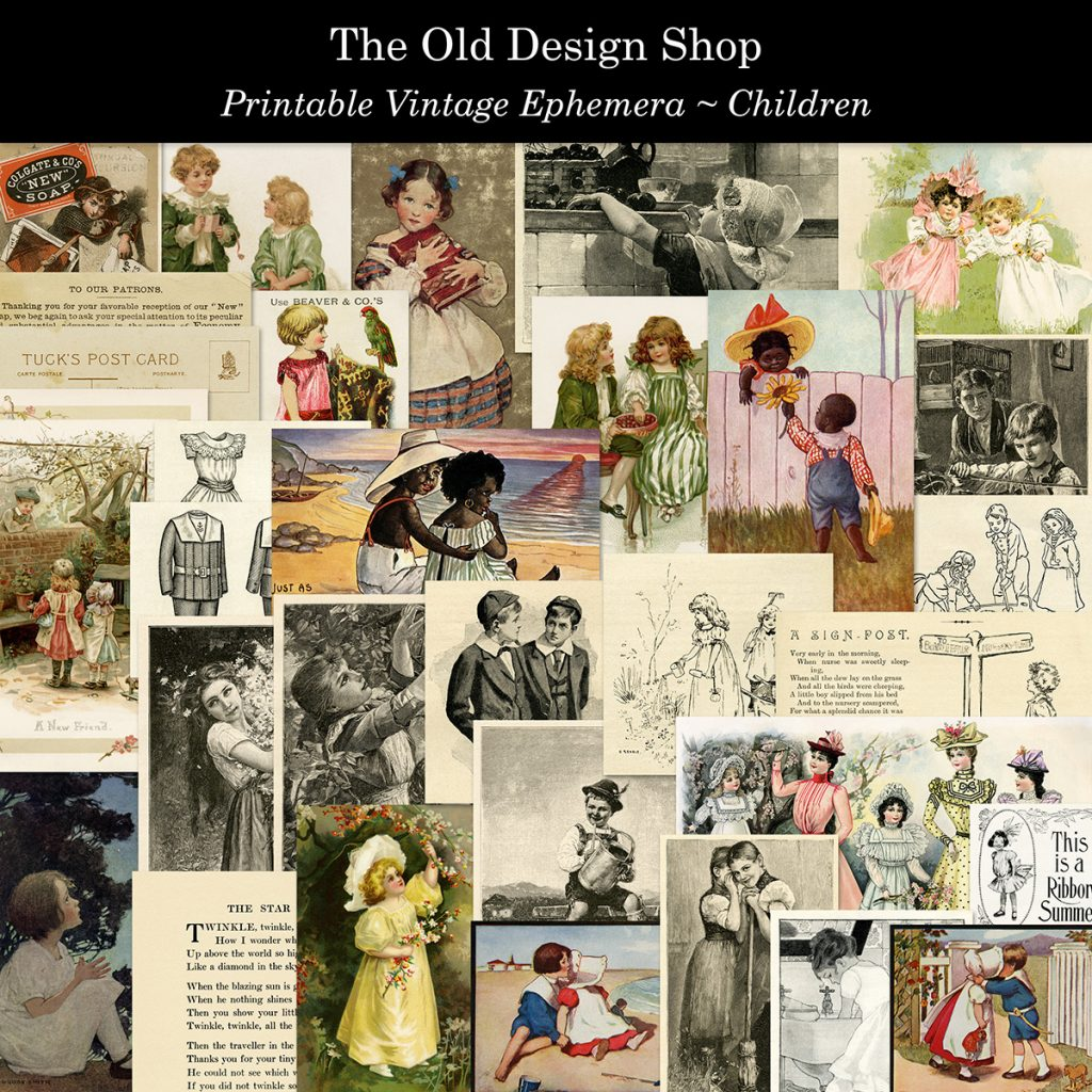 vintage ephemera children printable