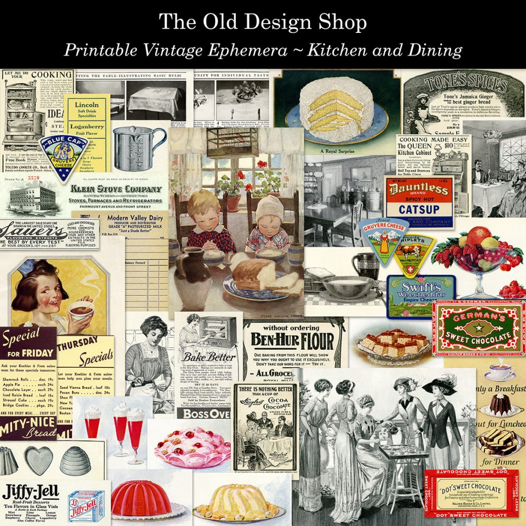 vintage kitchen food dining ephemera