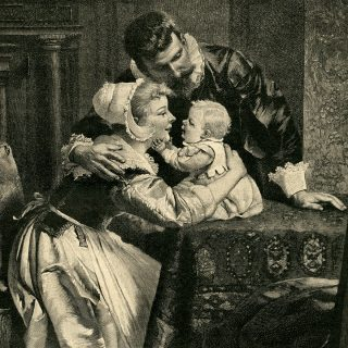 Free vintage illustration of young Victorian family
