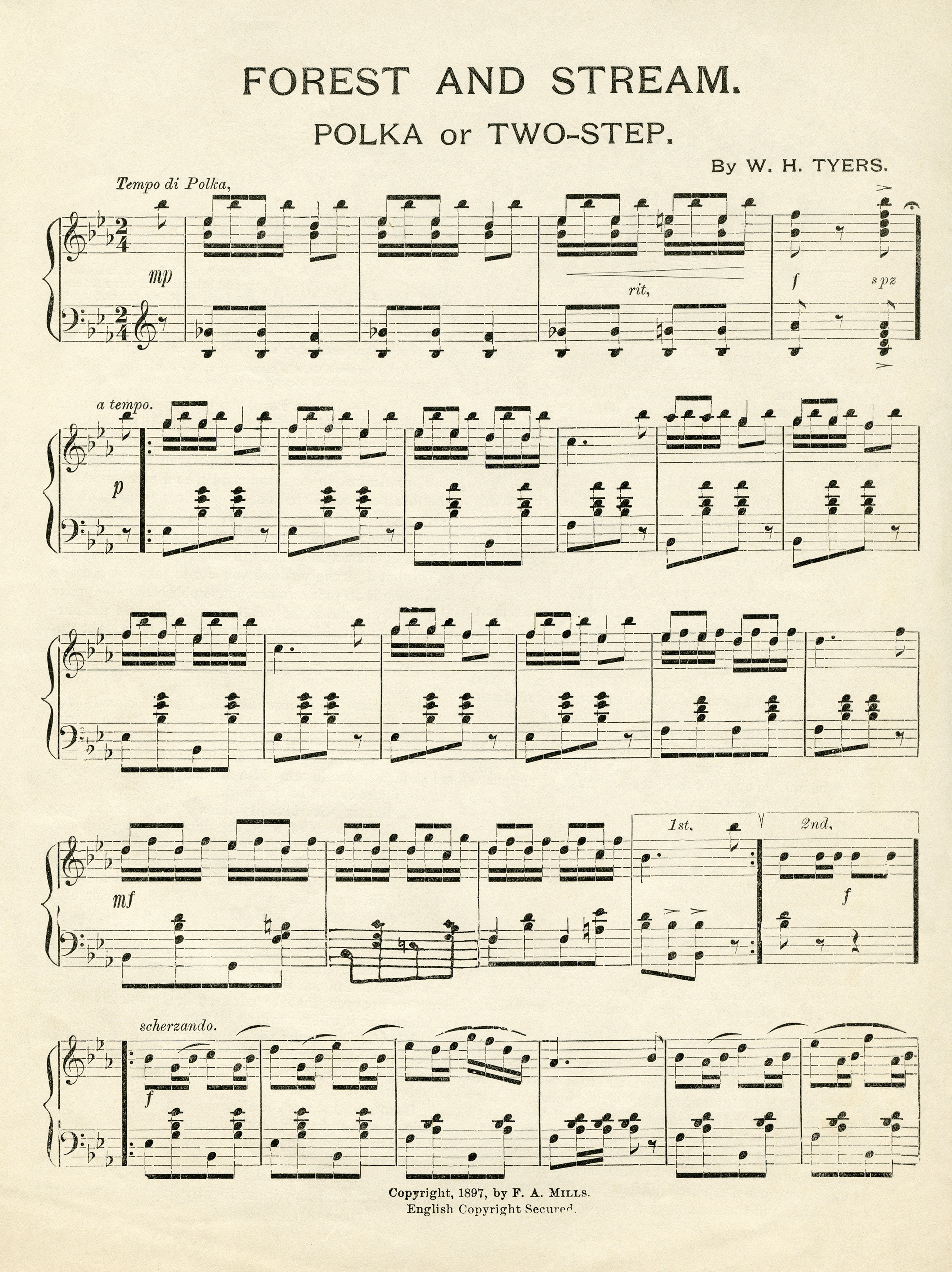 image regarding Vintage Sheet Music Printable named Typical Sheet Tunes Forest and Flow - Outdated Style Store Blog site