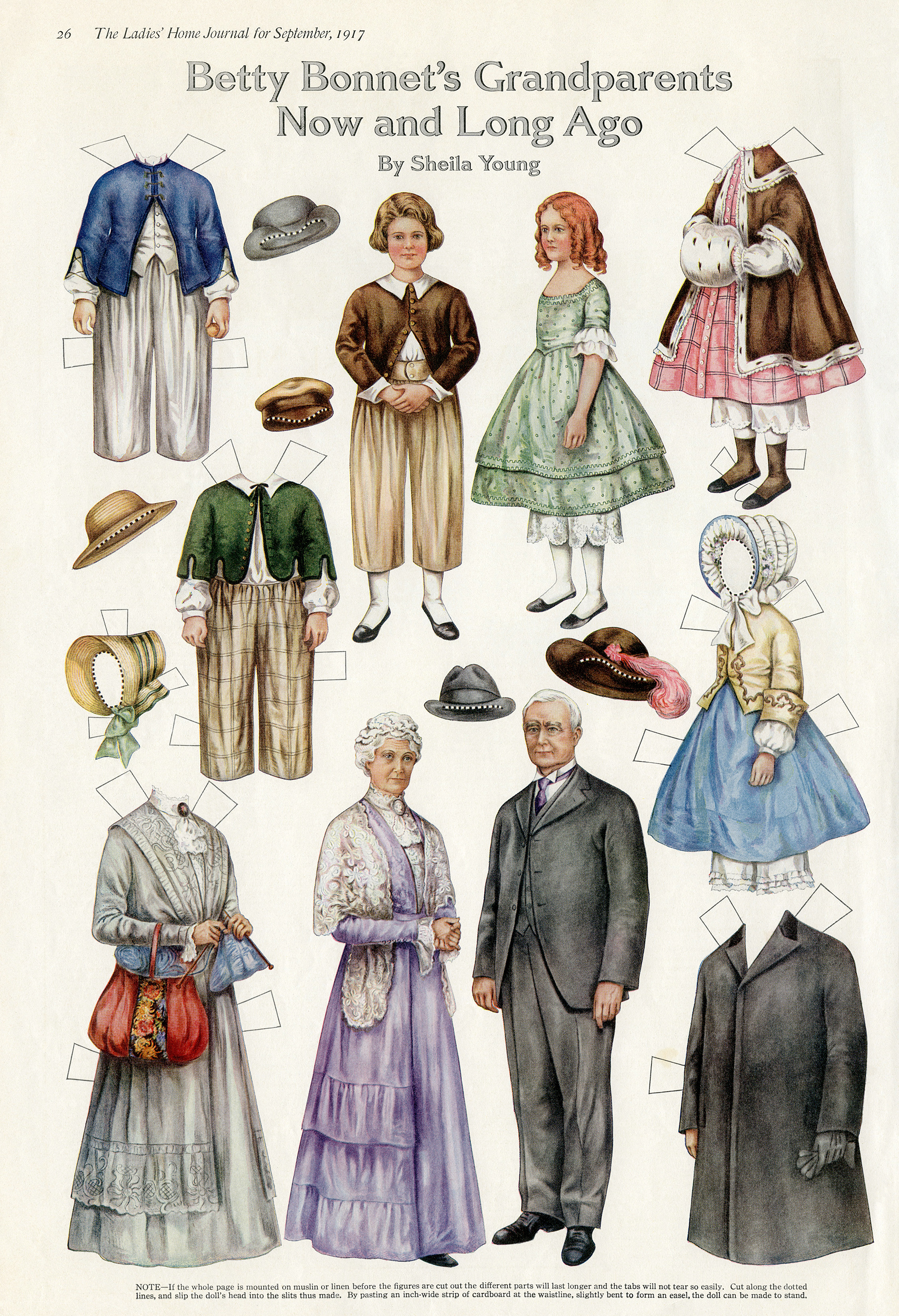 photograph about Printable Vintage Paper Dolls named Typical Paper Doll Betty Bonnets Grandparents - Outdated Design and style