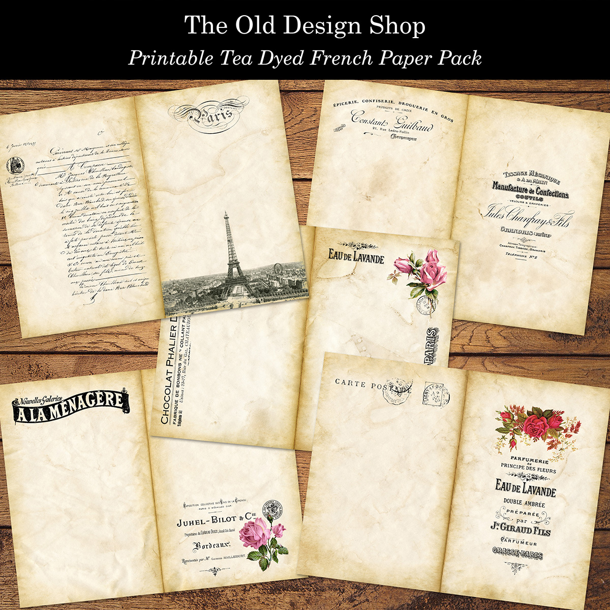 printable tea dyed paper pack old design shop