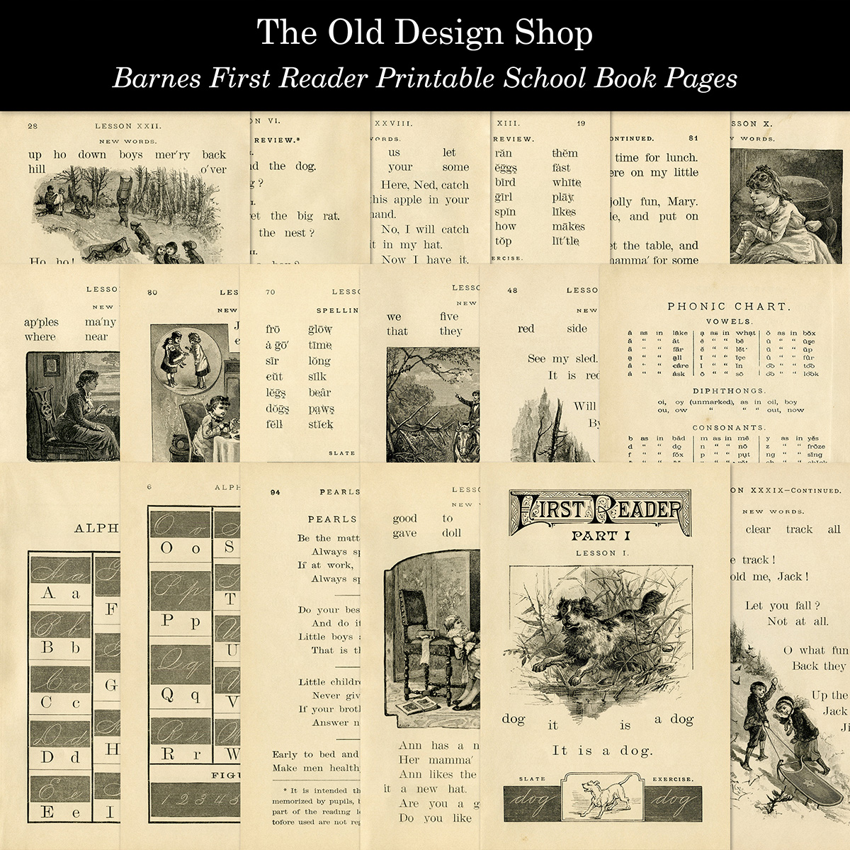 vintage school reader printable book pages